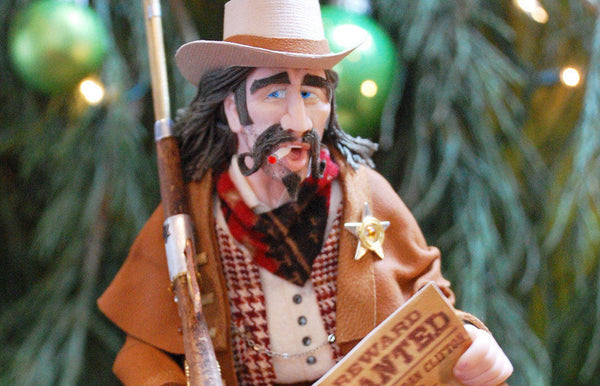 Cowboy themed art, old west american famous lawman Emmett Jackson Goodbody, Cowboy Hanging ornament, Christmas Art by Cdn artist Ken Fedoruk-Limited Edition-kenfolks