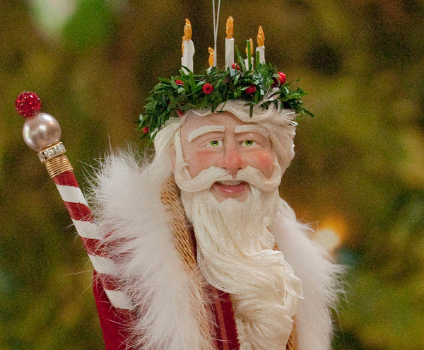 Santa Claus Christmas Ornament - Father Christmas with wreath and candles - Flowing white beard - Completely handmade collectable sculpture-Limited Edition-kenfolks