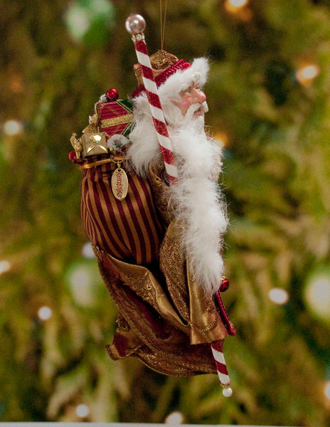 Santa Claus Christmas Ornament -Red and White with Sac of miniature presents - Flowing white beard - Candy cane staff - Red jingling bells-Limited Edition-kenfolks