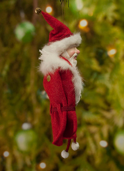 Santa Claus Christmas decor - Flowing white beard sprinkled with candy canes - White fur trimmed red coat & cap with gold jingling bell-Limited Edition-kenfolks