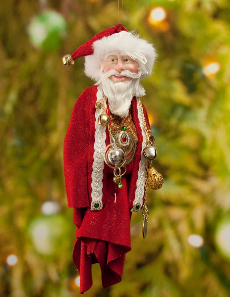 Santa Claus Decoration - Richly adorned with golden baubles and antique jewellery - Textured fur trimmed red & cap - Red and Gold Santa-kenfolks