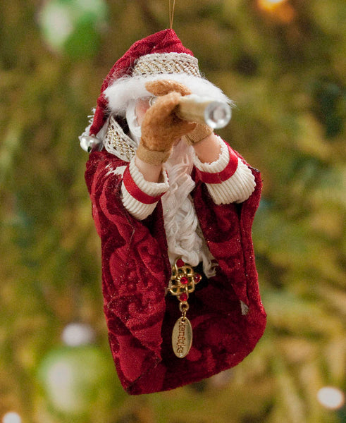 Santa Christmas Decoration - Looking through the spyglass - Fur trimmed red coat, cap, warm mittens - Collect Santa's by Kenfolks - Handmade-Limited Edition-kenfolks