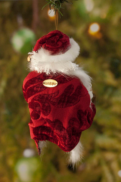 Santa Claus Milk and Cookies Christmas Ornament - Playful Winking Santa - Christmas Holly on his fur trimmed hat- Flowing white beard-Limited Edition-kenfolks