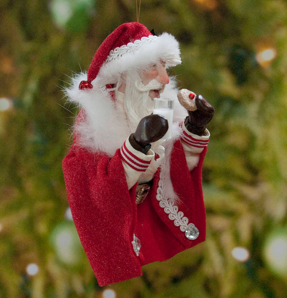 Santa Claus Milk and Cookies Christmas Ornament - Christmas Holly on his fur trimmed hat - Flowing white beard - Collectable Santa-Limited Edition-kenfolks