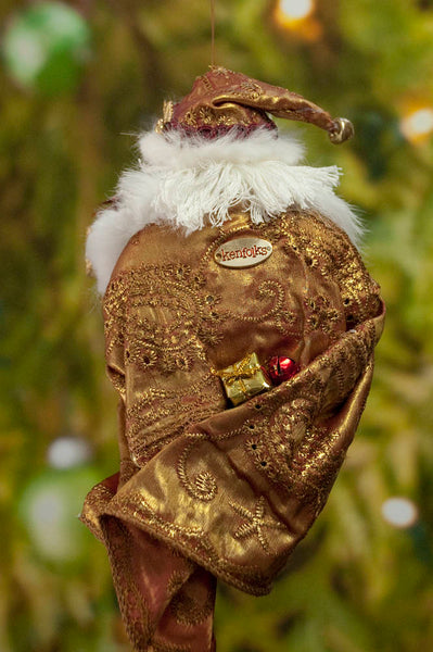 Santa Christmas Decoration - Red and gold Christmas ornament - Hand wrapped presents - Beautiful Santa - Stunning addition for a Collector-Limited Edition-kenfolks