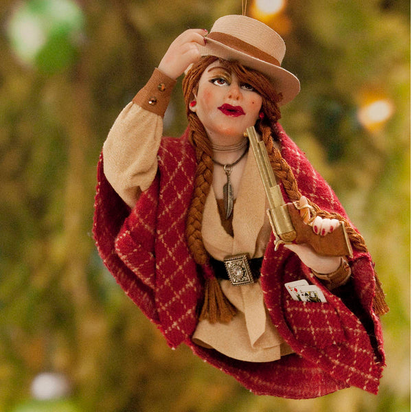 Cowboy art, american notorious gunslinger Calamity Jane, Cowboy Hanging ornament, Christmas ornament or art for a collector. Red cape-Limited Edition-kenfolks