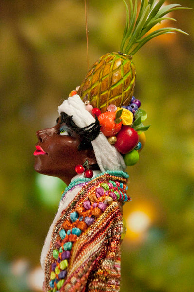 Carmen Miranda Ornament - Handmade fruit in her turban and costume - African American Art - Beautiful gift for Mom-Limited Edition-kenfolks