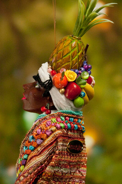 Carmen Miranda Ornament - Handmade fruit in her turban and costume - African American Art - Beautiful gift for Mom-Hanging Ornament-kenfolks