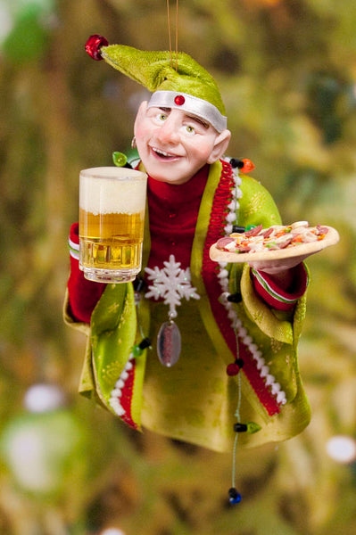 Christmas Elf Decoration - Pizza Party at the North Pole - Hanging Ornament for the christmas tree - Mug of Beer Christmas Cheer-Limited Edition-kenfolks