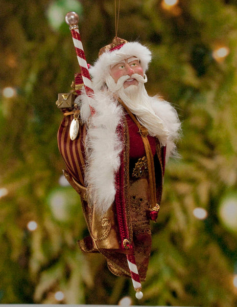 Santa Claus Christmas Ornament -Red and White with Sac of miniature presents - Flowing white beard - Candy cane staff - Red jingling bells-kenfolks