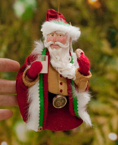 Santa Claus Christmas Ornament - Eating a cookie and a glass of milk - Red velvet coat & cap with green jingling bell - Flowing white beard-Limited Edition-kenfolks