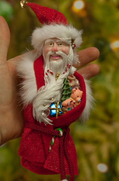 Santa Claus Christmas decor - Flowing white beard sprinkled with candy canes - White fur trimmed red coat & cap with gold jingling bell-kenfolks