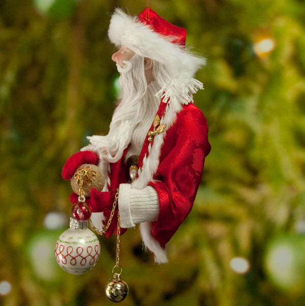 Santa Claus Decoration - Holding gold and white Christmas baubles - Fur trimmed red coat & cap - Gold jingling bell - Perfect gift for Mom-Limited Edition-kenfolks