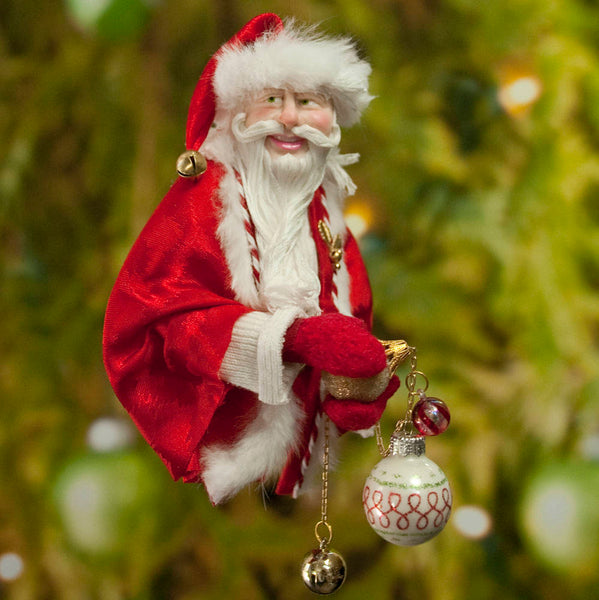 Santa Claus Decoration - Holding gold and white Christmas baubles - Fur trimmed red coat & cap - Gold jingling bell - Perfect gift for Mom-kenfolks
