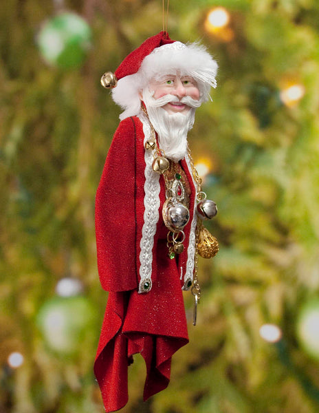 Santa Claus Decoration - Richly adorned with golden baubles and antique jewellery - Textured fur trimmed red & cap - Red and Gold Santa-Limited Edition-kenfolks