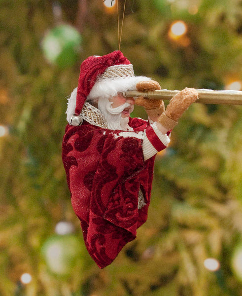 Santa Christmas Decoration - Looking through the spyglass - Fur trimmed red coat, cap, warm mittens - Collect Santa's by Kenfolks - Handmade-kenfolks
