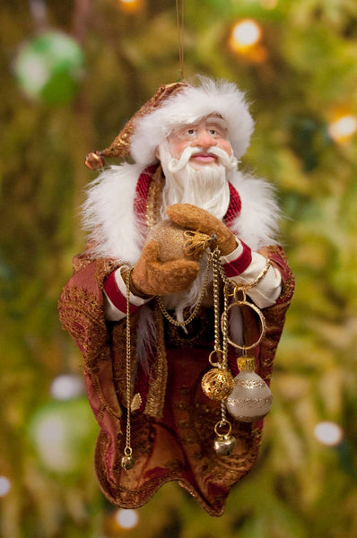 Santa Claus Decoration - Holding gold Christmas baubles - Richly textured fur trimmed red and gold coat & cap - Golden mittens-Limited Edition-kenfolks