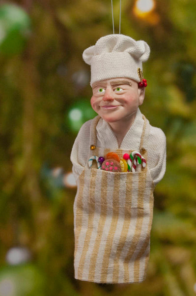 Chef Decoration Christmas - North Pole Elf - delightful gift for the chef - Cooking Apron with a Pocket full of Candy Canes-Hanging Ornament-kenfolks