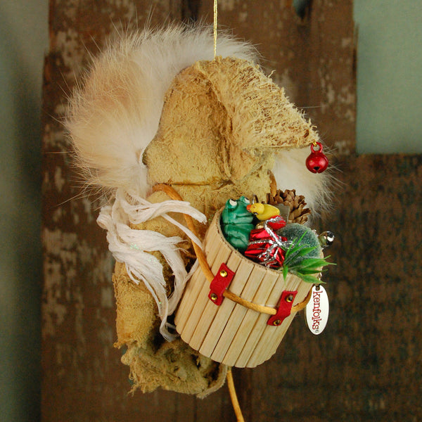 Santa Claus - Fur trimmed Raw hide parka with basket of toys-Limited Edition-kenfolks