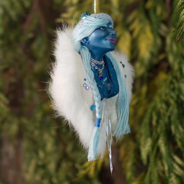 Snow Queen - Christmas Ornament - White fur wrap - handmade sculpted art - Unique handmade Christmas decoration for blue and white decor-Limited Edition-kenfolks