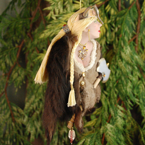 Viking Hanging Ornament, female warrior with brown fur cloak-Original Art-kenfolks