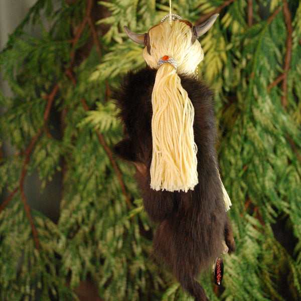 Viking Hanging Ornament, female warrior with brown fur cloak-Hanging Ornament-kenfolks