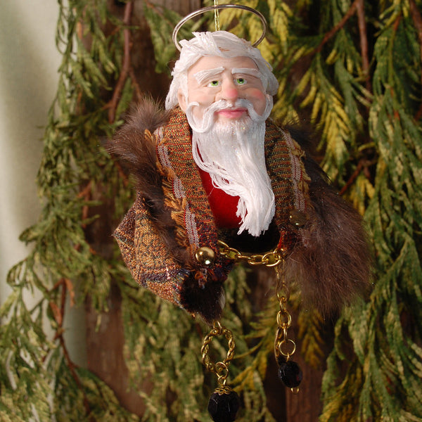 Saint Nick - Santa Claus - brown Fur trimmed Santa coat-Hanging Ornament-kenfolks