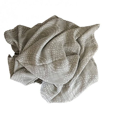 Bamboo Muslin Baby Swaddle Blanket - Grey Dots (Single)