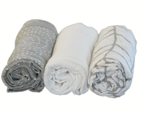 Bamboo Muslin Baby Swaddle Blankets (Set of 3)