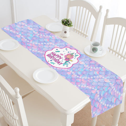 Happy Birthday Mermaid Table Runner