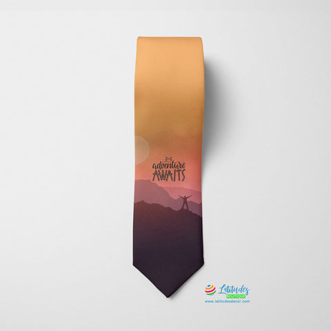 Adventure Awaits Quote Printed Tie