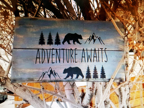 Adventure Awaits Wood Plaque