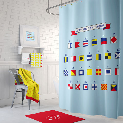 Alphabet Nautique Shower Curtain