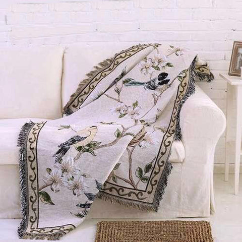 Asian Passerines Woven Throw Blanket