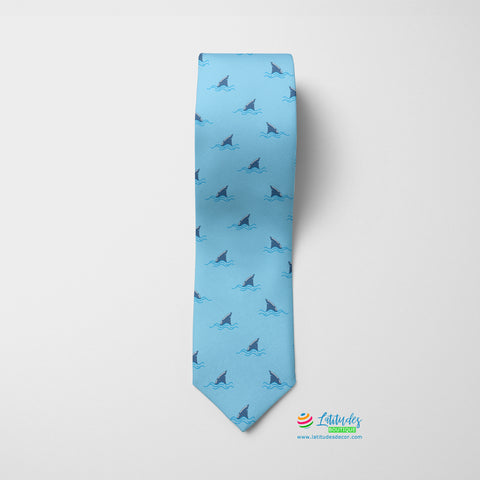 Blue Shark Printed Tie
