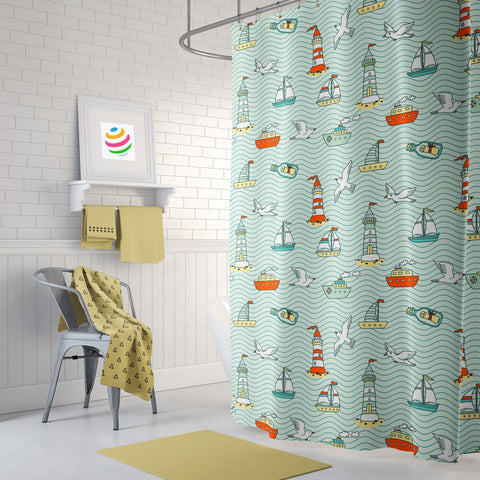 Boats & Birds Shower Curtain