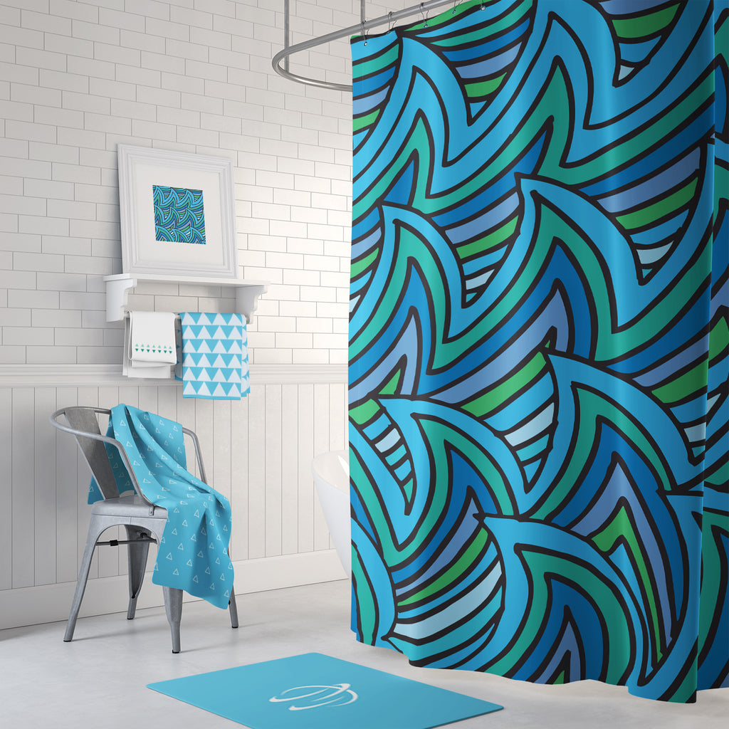 Bold Waves Shower Curtain
