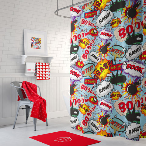 Boom Crash Shower Curtain