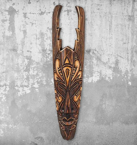 Carved Antelope Solid Wood Mask