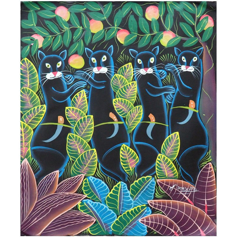 'Jeux de Fauves' Haitian painting | Latitudes World Décor
