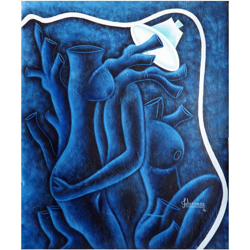 'Osmosis in Blue' Haitian painting | Latitudes World Décor