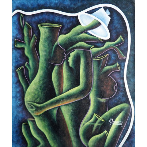 'Osmosis in Green' Haitian painting | Latitudes World Décor