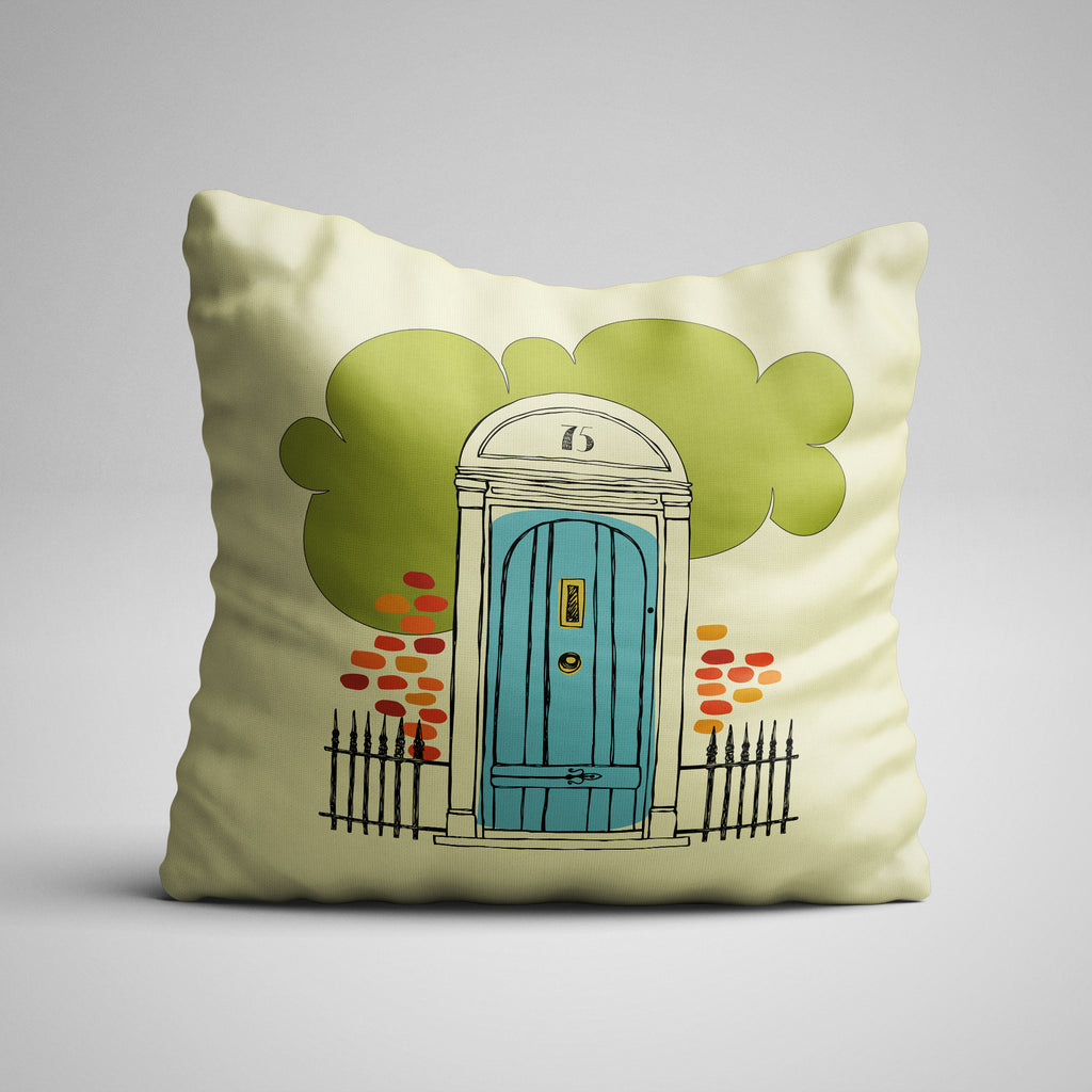 Home Sweet Home Blue Door One Side Pillow Cover