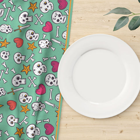 I Love Skulls Table Runner