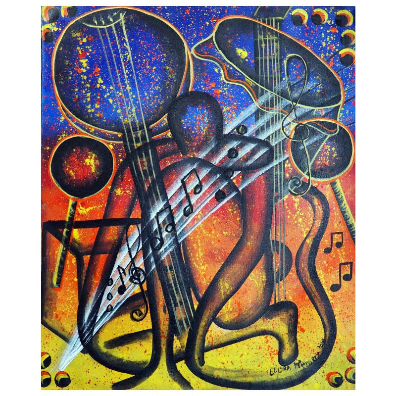 'Musik Surge' Haitian painting | Latitudes World Décor