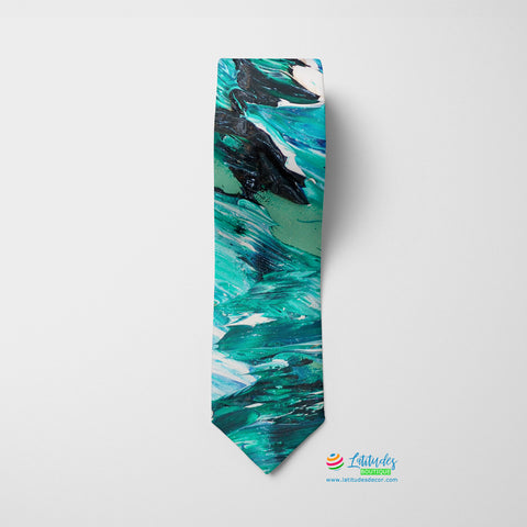 Ocean Waves Printed Tie