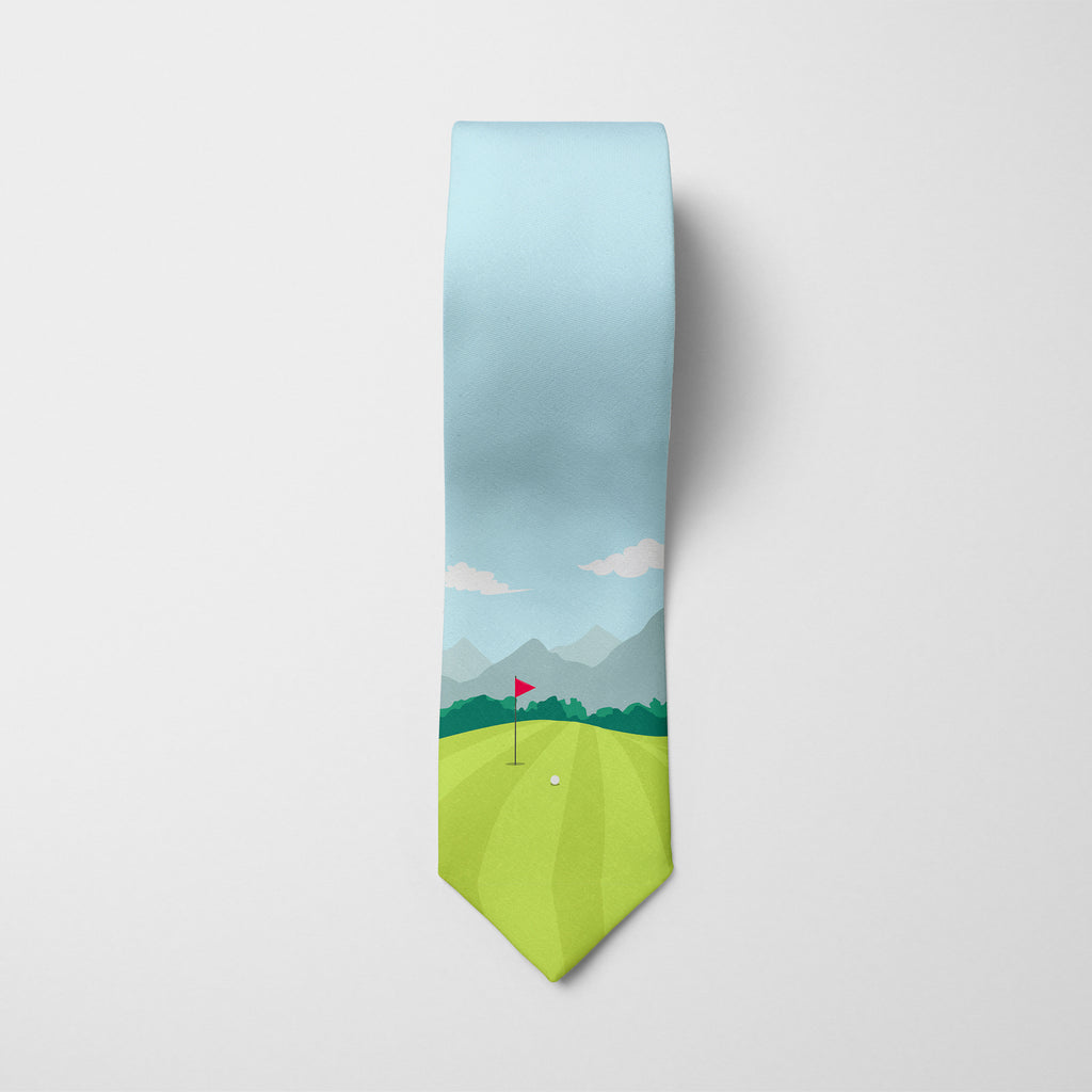 On the Green Golf Printed Tie