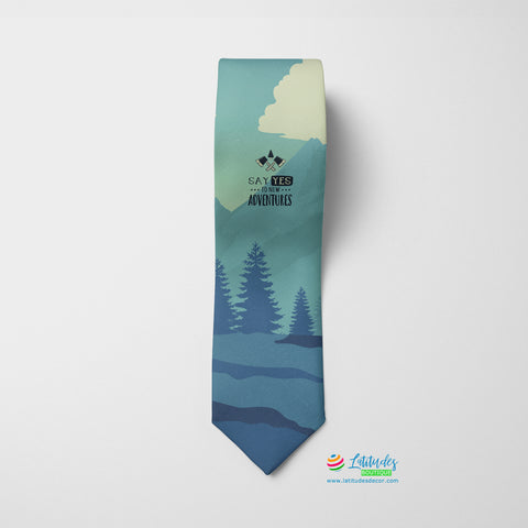 Say Yes to New Adventure Quote Printed Tie