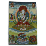 Buddha's Life Thangka Painting on Brocade
