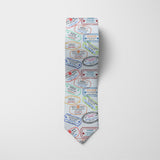 Travel Stamps Printed Tie